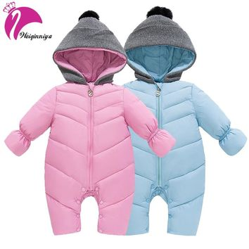 New 2018 Winter Baby Snowsuit Fashion Hooded Parka Down Outwear Coat Unisex Newborn Romper Snow Wear Coveralls Clothing Outwears