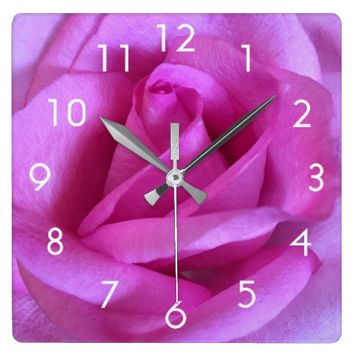 Bright purple pink rose close-up photo wall clock