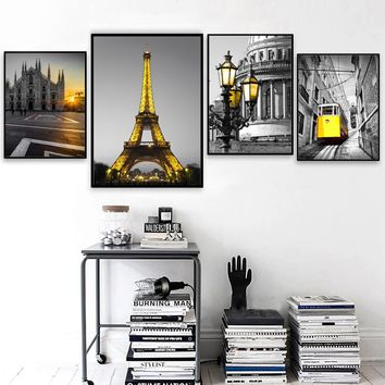 Paris City Church Minimalism Nordic Posters And Prints Wall Art Canvas Painting Vintage Kids Wall Pictures For Living Room Decor