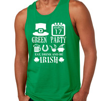 Men's Tank Top Green Party St Patrick's Day Shirt Drunk Top
