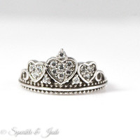Sterling Silver and Cubic Zirconia Crown Amore Heart Ring
