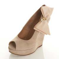 PRETTY Suede Cream Bow Wedge** - Shoes  - New In  - Miss Selfridge