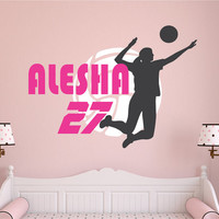 Volleyball Wall Decal, Personalized Name Volleyball, Volleyball Decor, Volleyball Team Player Decal, Volleyball Nursery