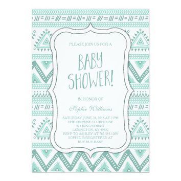 Baby Blue Tribal Aztec Pattern Baby Shower 5x7 Paper Invitation Card