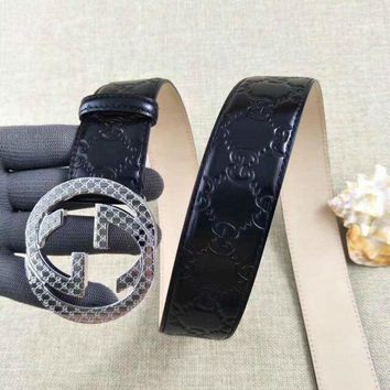 One-nice™ Men Gucci GG Monogram Black Leather Belt Silver Buckle 105cm Free Shipping