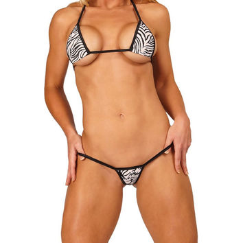 White w Black Animal Print Mini Micro G String Bikini 2pc Small Tri Top and Thong Minimal Coverage Swimwear Exotic Dancewear Extreme