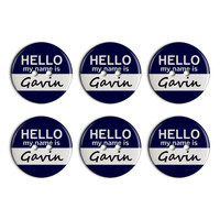 Gavin Hello My Name Is Plastic Resin Button Set of 6