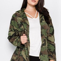 Camo Plus Size Military Jacket