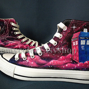 Doctor Who Custom Converse, doctor who 50th anniversary. Doctor Who Custom Paint Sneakers Hand Painting