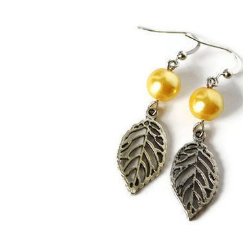 Yellow Earrings with Glass Pearls and Leaf Charm on Nickel Free Hooks. Marigold Yellow Beaded Earrings.