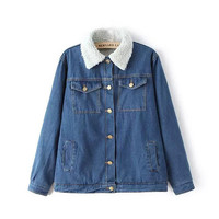 Blue Denim Fur-Collar Button Jacket