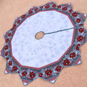 Large Christmas Tree Skirt Quilt, Red and Silver Poinsettias,  Elegant 67 inch Holiday Quilted Tree Skirt, Quiltsy Handmade