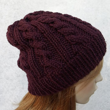 FREE SHIPPING,Hand Knitted Cable Beanie in Deep Crimson,Men's Hat,Women Hat,Handmade Warm Hat,Teens Winter Beanie,Knit Women Accessory
