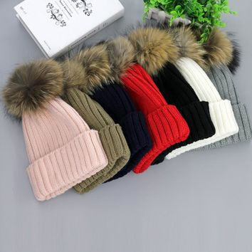 Genuine Raccoon ball cap pom poms winter hat for women girl 's  Ski hat knitted cotton beanies cap brand new thick female cap