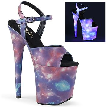 "Flamingo 809REFL Reflective Galaxy Platform 8"" High Heel Ankle Strap Shoe"