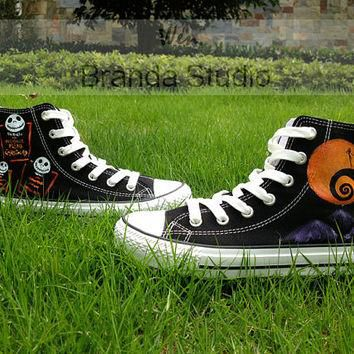 Nightmare Christmas Shoes,Studio Hand Painted Shoes 49.99Usd,Paint On Custom Converse