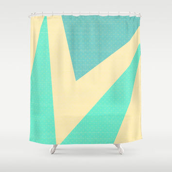 Cream and Blue Triangles and Polka Dots Shower Curtain by Kat Mun