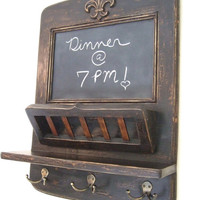 The Parisian Home Metro Center - Black Vintage Style Chalkboard, Mail Basket and Key Hooks