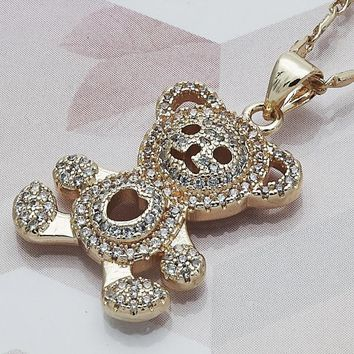 Gold Layered Women Teddy Bear Fancy Necklace, with White Micro Pave, by Folks Jewelry
