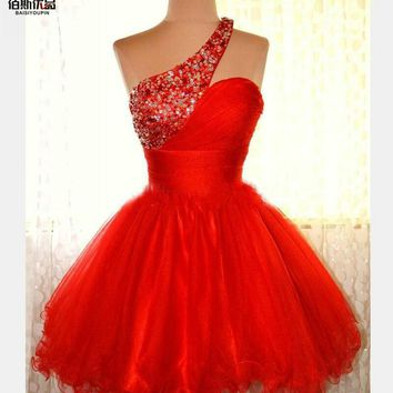 Elegant One Shoulder Sweetheart Ball Gown Beaded Short Prom Dress Homecoming Backless Formal Party GownS Cocktail Dresses 2016