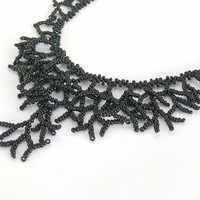 Black Necklace. Beadwork. Beaded Handmade Jewelry