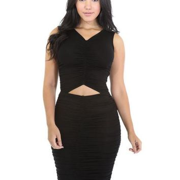 Ruched Bodycon Front Open Cut Out V Neck Sleeveless Midi Keen Length Party Club Dress Women Lady Sexy Dresses