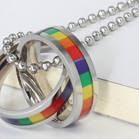 LGBT Rainbow Necklaces Pendants Stainless Steel Gay Pride Jewelry