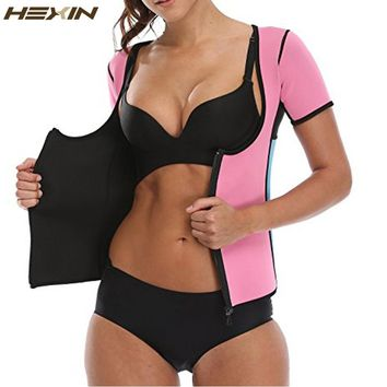 HEXIN Neoprene Slimming Hot Vest Exercise Top Sauna Suit for Weight Loss Full Body Vest Shirts Thermo Sweat Waist Trainer