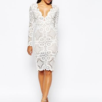 Love Triangle V Neck Midi Pencil Dress in All Over Lace
