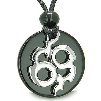 Amulet Infinity Symbol Magic Fire Energy MedalliOnyx Spiritual Protection PowerPendant Necklace