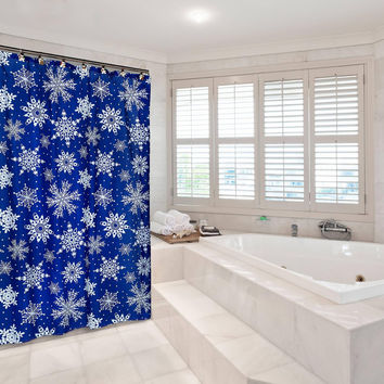 """Santa's Naughty and Nice Collection Christmas Fabric Shower Curtain (70"""" x 72"""") with Matching Xmas Set Hooks - Snowflake"""