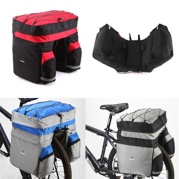 ROSWHEEL 60L Waterproof Polyester Mountain Road Bicycle Bike Bags Cycling Double Side Rear Rack Tail Seat Trunk Bag Pannier New