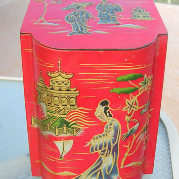 Vintage Biscuit Tin Geisha Tea Caddy Lidded Metal Canister Asian Oriental Baret Ware Container Made in England