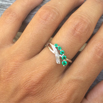 Sterling Silver Created Emerald and Diamond-Accented Ring