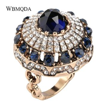 Luxury Blue Stone Crystal Crown Ring Antique Gold Big Engagement Wedding Rings For Women Party Vintage Jewerly