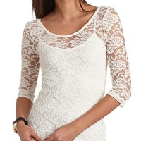 THREE-QUARTER SLEEVE LACE TOP