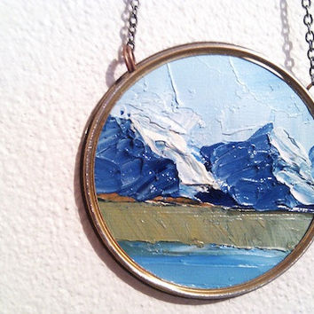 Landscape Necklace Mountains in Oil on Canvas in Rustic by Ayliss