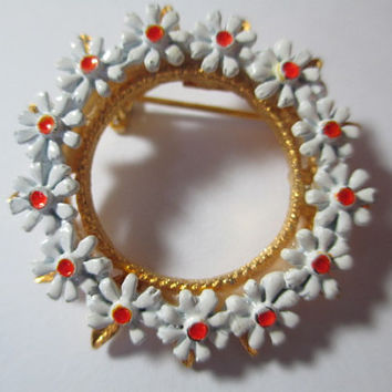 Metal 1960s Enamel Daisy Round Pin Brooch White Orange Flowers Vintage Collectible