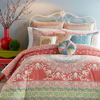 Jessica Simpson Amrita Medallion Comforter Set in Coral