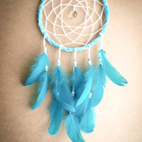 Dream Catcher - Turquoise Dreams - With Sparkling Crystal Prism, Pure Turquoise Green Feathers - Boho Home Decor, Nursery Mobile