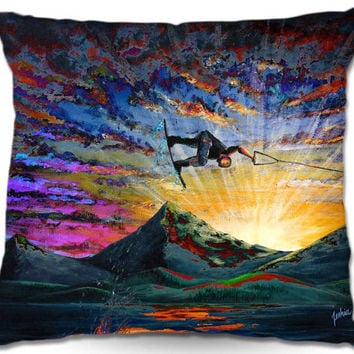 Colorful Wakeboarder Pillow - Night Ride - Artwork by Teshia