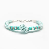 Mint bracelet with rhinestones, knot bracelet, cord bracelet with knot, mint and silver