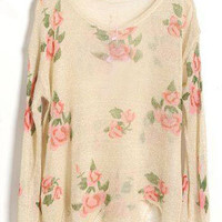 Beige Rose Flowers Print Ripped Distressed Long Sleeve Jumper - Sheinside.com
