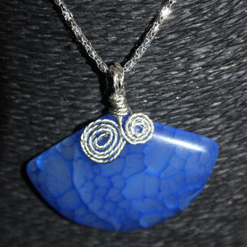 Sterling Silver Wire-Wrapped (Blue) Fan-Shaped Agate Stone Pendant Necklace