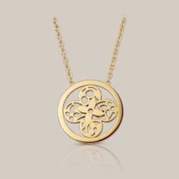 Small Monogram Résille round flower pendant in yellow gold - Louis Vuitton  - LOUISVUITTON.COM