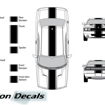 "Dodge Challenger 2012 15"" Rally Racing Stripe with Pin Stripes Vinyl Decal Kit"