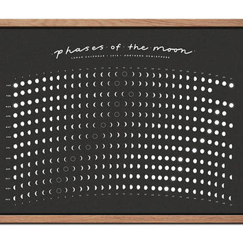 2018 Lunar Calendar / Moon Phase Calendar Screen Printed Poster