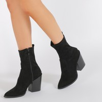 Gabriella Western Style Sock Boots in Black Faux Suede