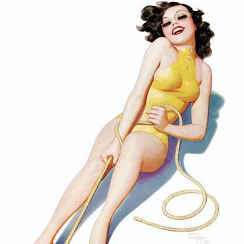Pin Up Girl Brunette Tugging On A Rope Poster