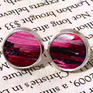 Magenta, Purple, and White Leather Stud Earrings, Leather Earrings, Earstuds, Ear Stud Earring
